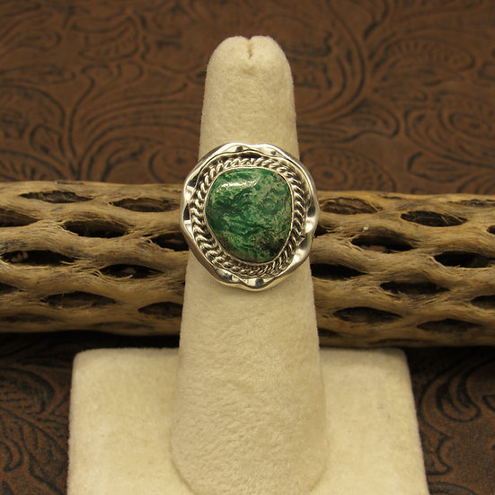 Southwest Sterling Silver Green Turquoise Ring Size 6