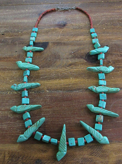 Vintage Turquoise and Apple Coral Beaded Bird Fetish Necklace