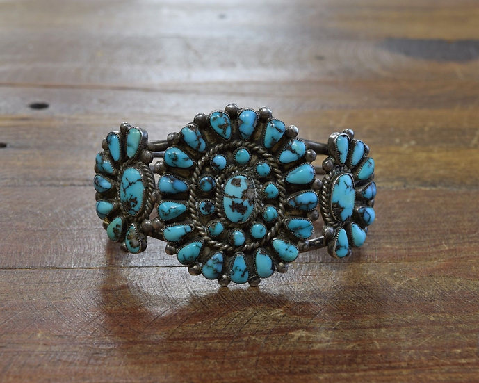 Vintage Sterling Silver and Turquoise Petit Point Cluster Bracelet