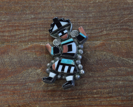 Vintage Zuni Sterling Silver Multi-Stone Inlay Rainbow Yei Brooch