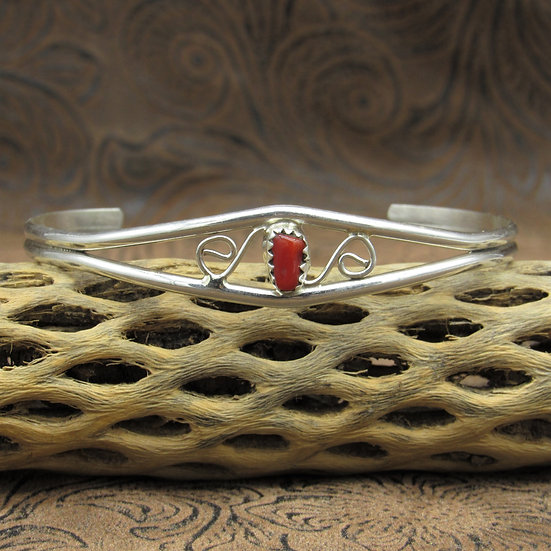 Dainty Sterling Silver Red Coral Cuff Bracelet