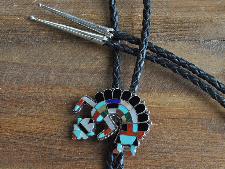 Vintage Southwest Multi-Stone Rainbow Yei Inlay Sterling Silver Bolo Tie
