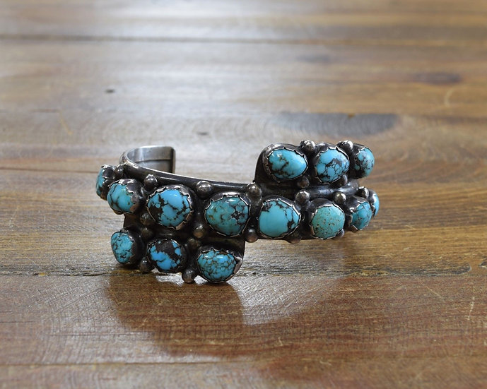 Vintage Sterling Silver and Turquoise Multi-Stone Cuff Bracelet