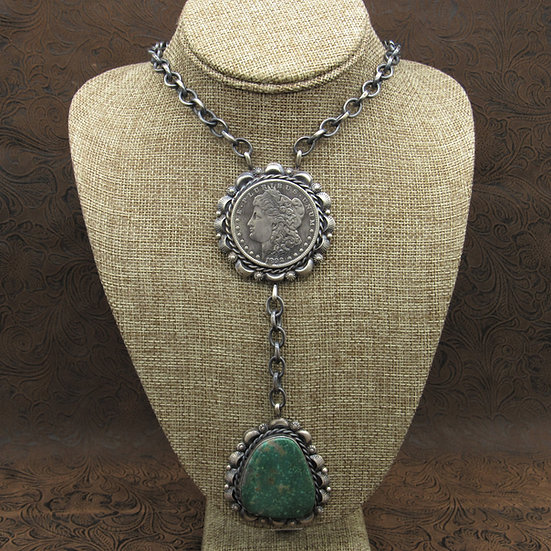 Morgan Dollar Sterling Silver Turquoise Necklace by Betta Lee