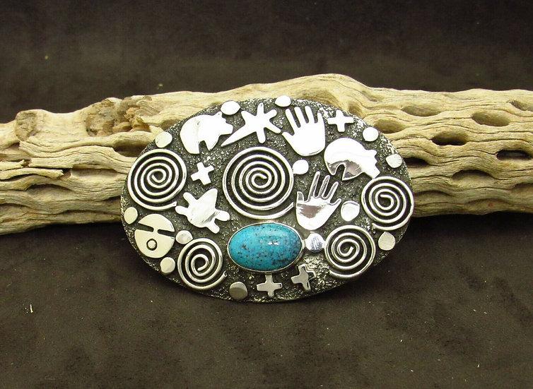 Sterling Silver Alex Sanchez Turquoise Belt Buckle