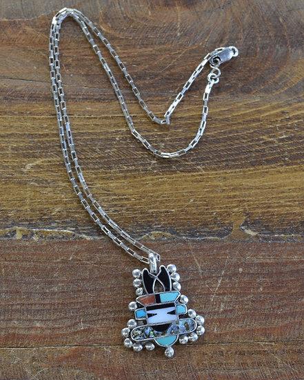 Vintage Zuni Sterling Silver Inlay Antelope Kachina Necklace