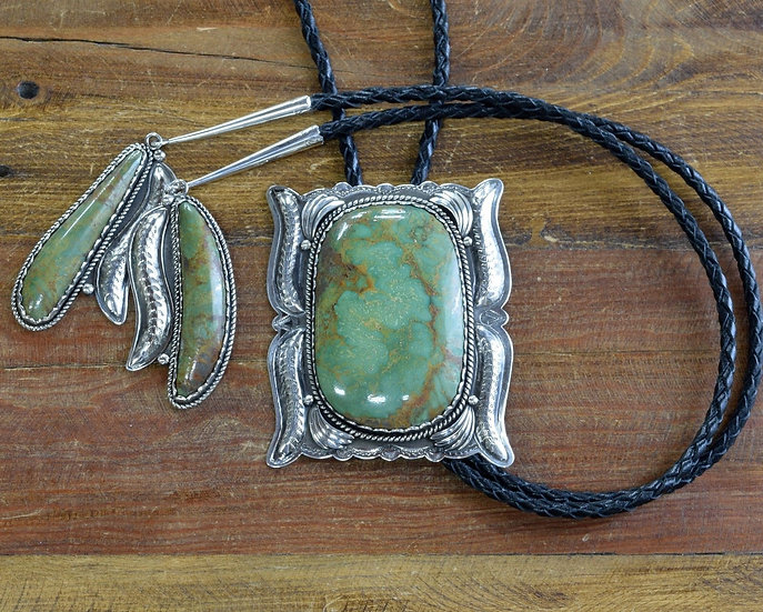 Massive Vintage Southwestern Sterling Silver And Turquoise Bolo Tie