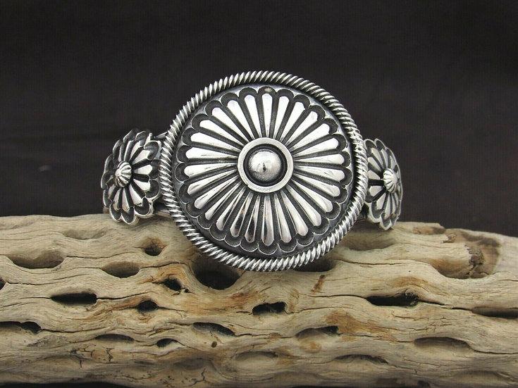 Heavy Southwestern Sterling Silver Concho Cuff Bracelet