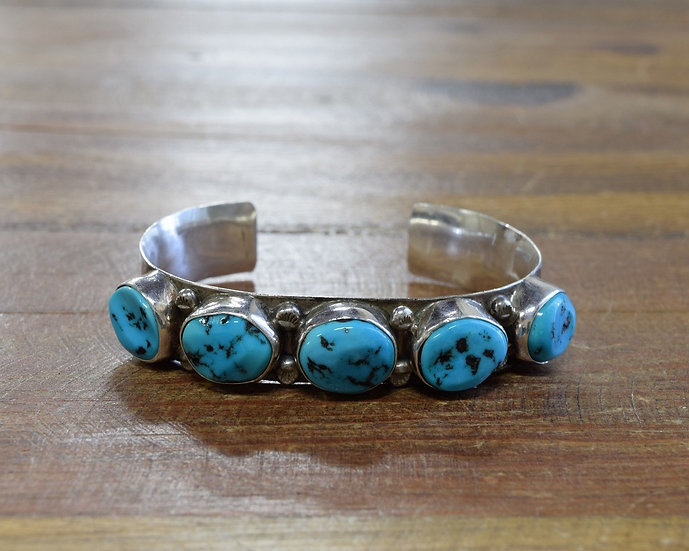 Vintage Navajo Sterling Silver and Multi-Stone Turquoise Cuff Bracelet