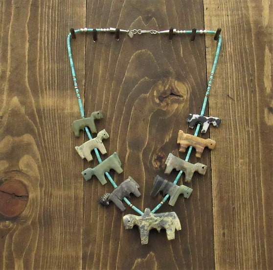 Vintage Zuni Horse Fetish Necklace by Ellen Quandelacy