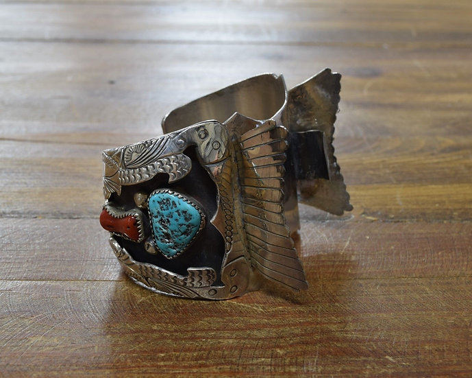 Vintage Navajo Sterling Silver Turquoise and Coral Watch Cuff