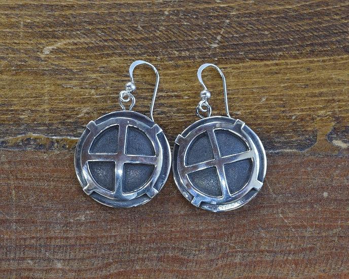 Vintage Navajo Overlay Sterling Silver Hook Earrings by Clarence Lee
