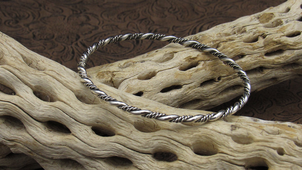 Braided Sterling Silver and Oxidized Silver Bangle Bracelet