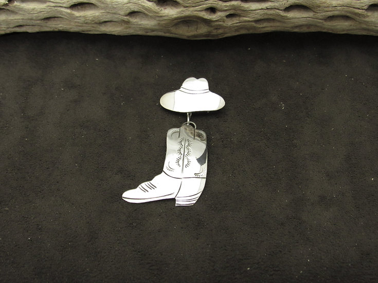Southwestern Sterling Silver Cowboy Boot and Hat Pin