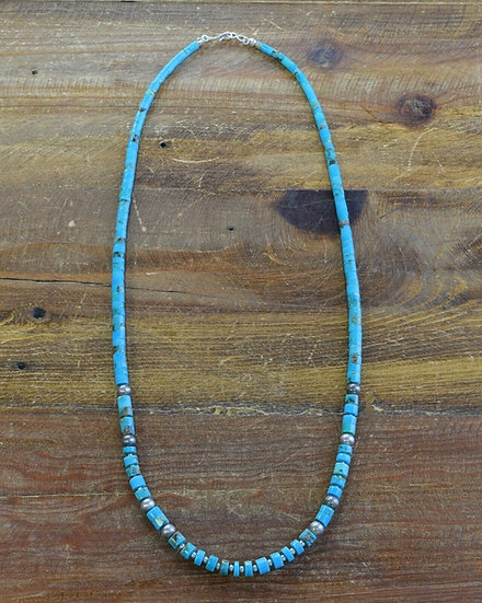Turquoise and Sterling Silver Beaded Necklace