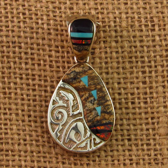 Calvin Begay Multi Stone Inlay Sterling Silver Pendant