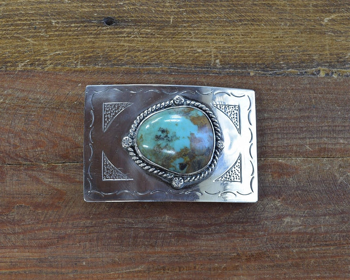 Navajo Sterling Silver Turquoise Belt Buckle