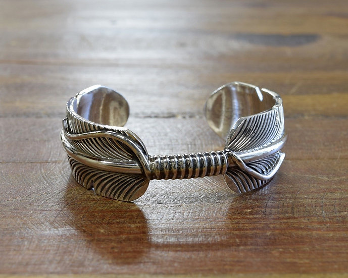 Vintage Navajo Sterling Silver Feather Cuff Bracelet by Chris Charley