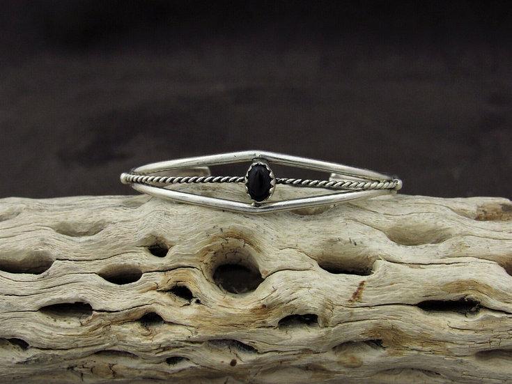 Sterling Silver Onyx Children's Cuff Bracelet