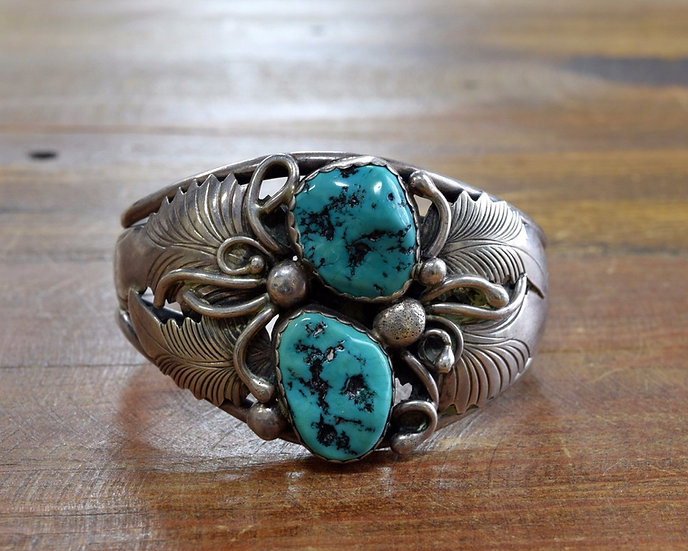 Vintage Navajo Sterling Silver And Turquoise Cuff Bracelet RM