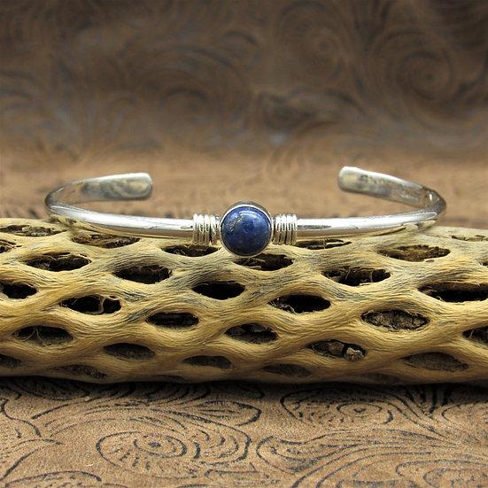 Sterling Silver Round Lapis Cuff Bracelet