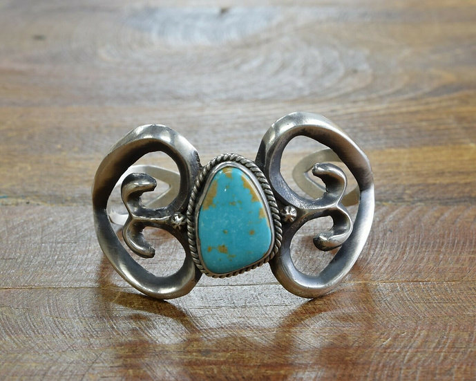 Navajo Sterling Silver and Turquoise Sandcast Cuff Bracelet