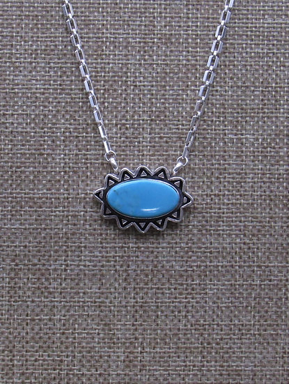 Beautiful Navajo Made Turquoise and Sterling Silver Necklace