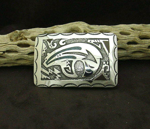 Sterling Silver Navajo Turquoise Chip Inlay Bear Belt Buckle by Raymond Begay