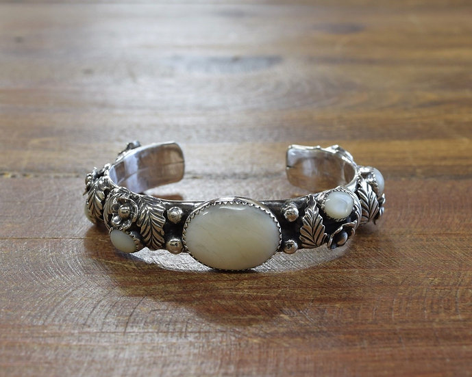 Vintage Southwestern Sterling Silver and Mother of Pearl Cuff Bracelet