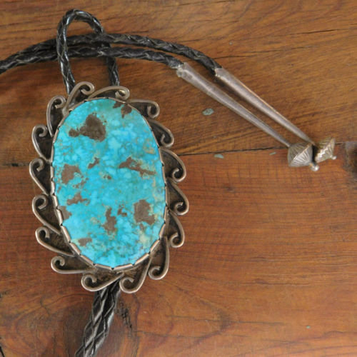 Vintage Southwest Sterling Silver and Turquoise Bolo Tie