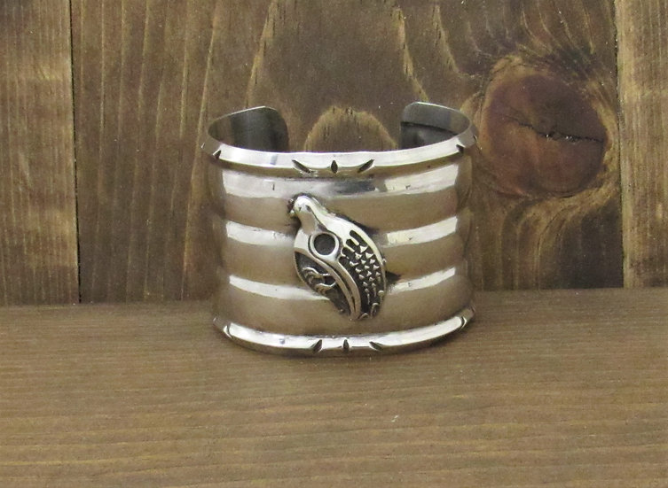 Wide Sterling Silver Three Row Cuff Bracelet with Bird Design