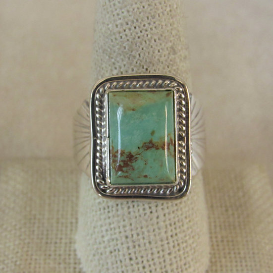 Southwestern Rectangular Green Turquoise Ring Size 9.5 by Danny Kenneth