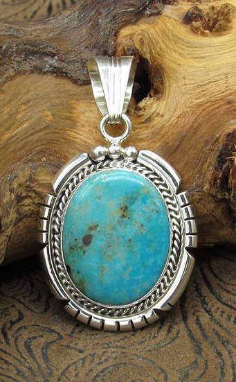 Stunning Navajo Turquoise and Sterling Silver Pendant by workshop Running Bear