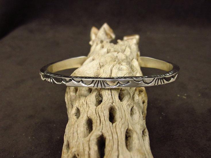 Southwestern Sterling Silver Stamped Square Cuff Bracelet