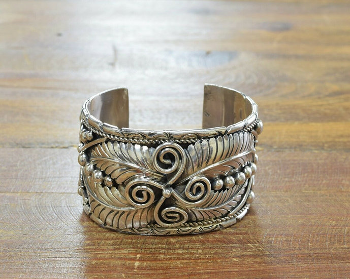 Vintage Navajo Sterling Silver Wide Cuff Bracelet by Monroe Ashley