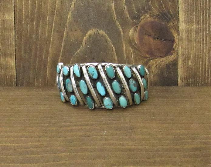 Stunning Vintage Southwestern Sterling Silver Turquoise Cuff Bracelet