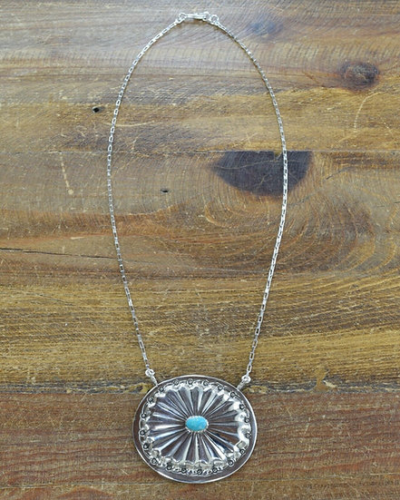 Vintage Sterling Silver Turquoise Concho Necklace