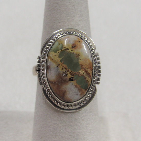 Sterling Silver and Green Turquoise Ring By Jake Sampson