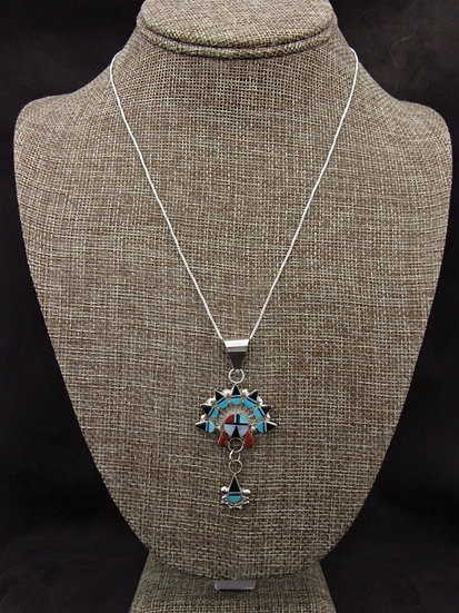 Multi-Color Sunface Inlay Sterling Silver Necklace