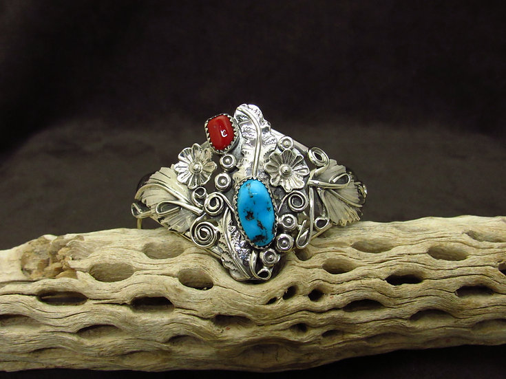 Southwestern Sterling Silver Turquoise and Coral Cuff Bracelet
