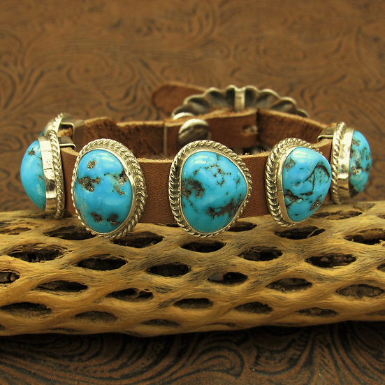 Kingman Nugget Turquoise and Leather Bracelet