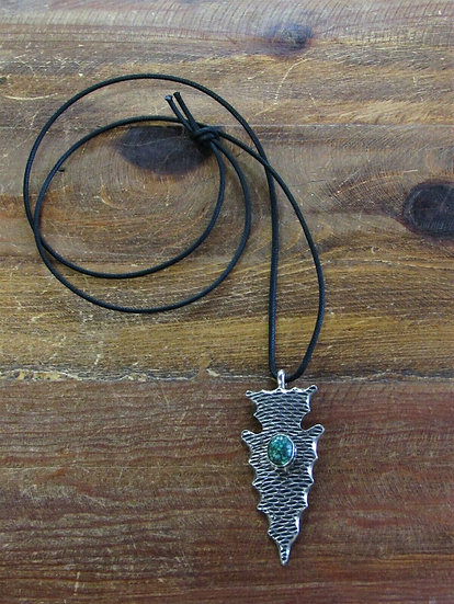 Vintage Turquoise Sterling Silver Arrowhead Necklace