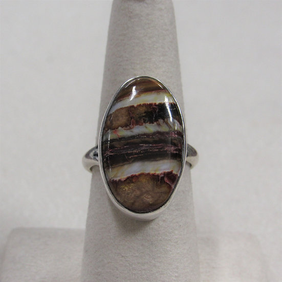 Southwest Sterling Silver Ring with Striated Brown & Tan Stone Size 7.75