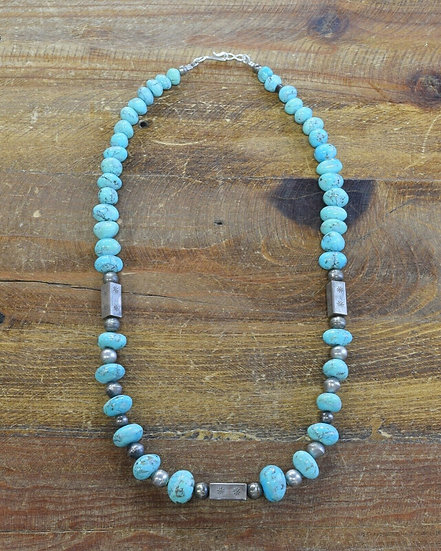 Vintage Turquoise Sterling Silver Beaded Necklace