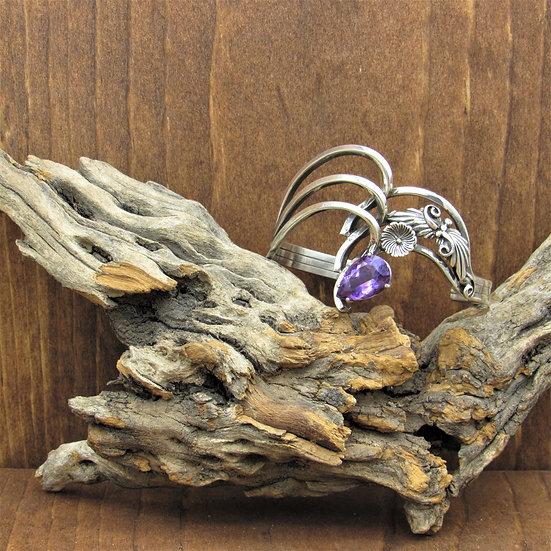 Vintage Navajo Sterling Silver Amethyst Cuff Bracelet by Kelly Jack Smith