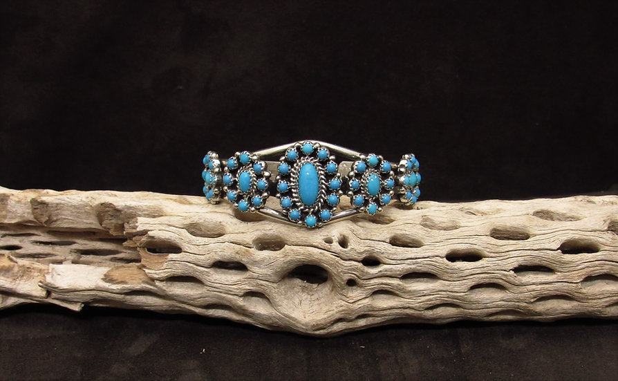Sterling Silver Turquoise Flower Cluster Cuff Bracelet
