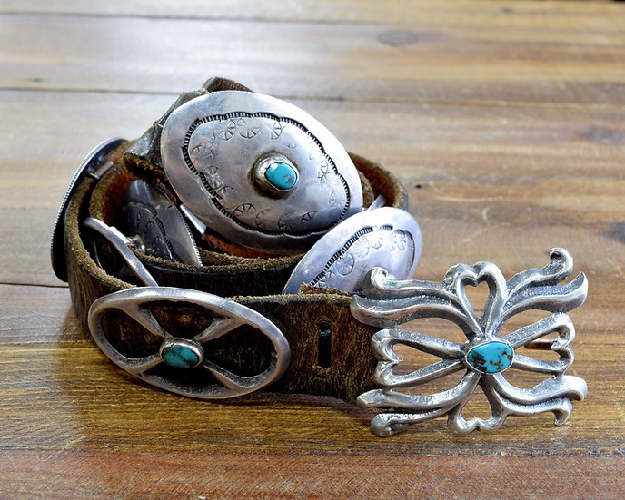 Vintage Sterling Silver and Turquoise Concho Belt