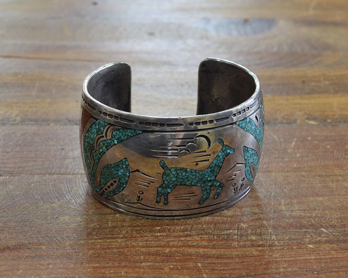 Vintage Navajo Sterling Silver Turquoise and Coral Chip Inlay Bracelet