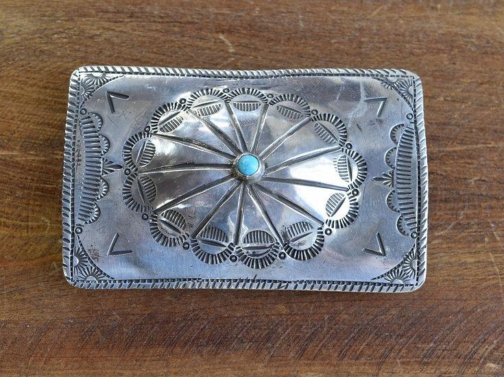 Vintage Southwest Sterling Silver Turquoise Belt Buckle