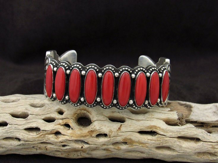 Navajo Coral Sterling Silver Cuff Bracelet by Ernest Roy Begay